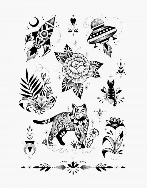 cosmic cat violette lovecat tatouage éphémère